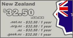 New Zealand Domain Names from $35.00 per year